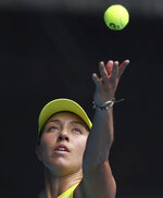 United States' Jessica Pegula serves to France's Kristina Mladenovic during their match at the Australian Open tennis championships in Melbourne, Australia, Saturday, Feb. 13, 2021. (AP Photo/Hamish Blair)