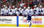 Tampa Bay Lightning center Steven Stamkos (91) celebrates his goal with his teammates during the first period of Game 3 of the NHL Eastern Conference finals hockey playoff series against the Washington Capitals, Tuesday, May 15, 2018, in Washington. (AP Photo/Alex Brandon)