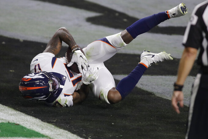 Denver Broncos wide receiver DaeSean Hamilton (17) scores a touchdown against the Las Vegas Raiders during the second half of an NFL football game, Sunday, Nov. 15, 2020, in Las Vegas. (AP Photo/Isaac Brekken)