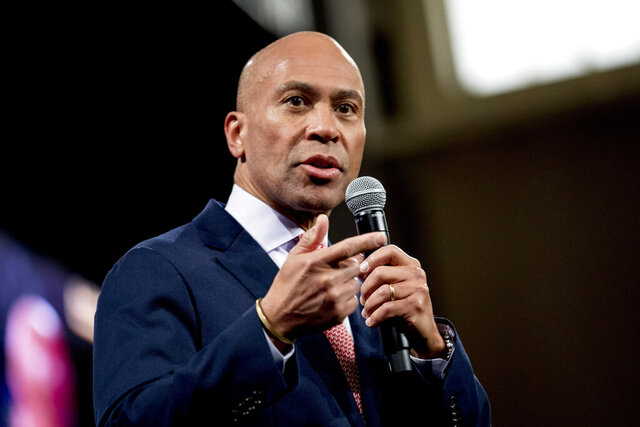 FILE - In this Feb. 8, 2020 file photo, Democratic presidential candidate former Massachusetts Gov. Deval Patrick speaks at