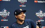 Houston Astros relief pitcher Joe Smith talks to the media during a news conference for baseball's World Series, Monday, Oct. 28, 2019. Houston will play the Washington Nationals in Game 6 on Tuesday. (AP Photo/Eric Gay)