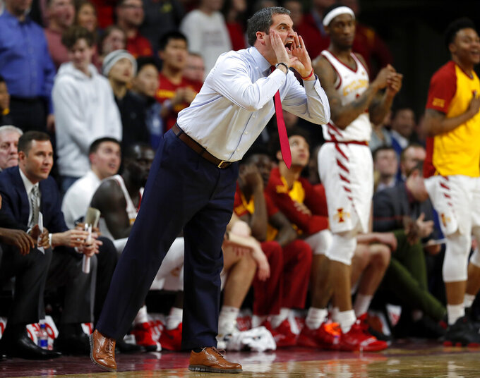 Iowa State head coach Steve Prohm disputes a call with an official during the first half of an NCAA college basketball game, Tuesday, Feb. 19, 2019, in Ames, Iowa. (AP Photo/Matthew Putney)