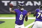 Baltimore Ravens quarterback Lamar Jackson (8) throws against the Houston Texans during the first half of an NFL football game Sunday, Sept. 20, 2020, in Houston. (AP Photo/Eric Christian Smith)