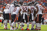The Chicago Bears huddle during an NFL game against the Denver Broncos, Sunday Sept. 15, 2019, in Denver. The Bears defeated the Broncos 16-14. (Margaret Bowles via AP)