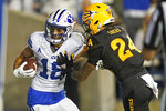 BYU wide receiver Gunner Romney (18) scores against Arizona State defensive back Chase Lucas (24) during the first half of an NCAA college football game Saturday, Sept. 18, 2021, in Provo, Utah. (AP Photo/Rick Bowmer)