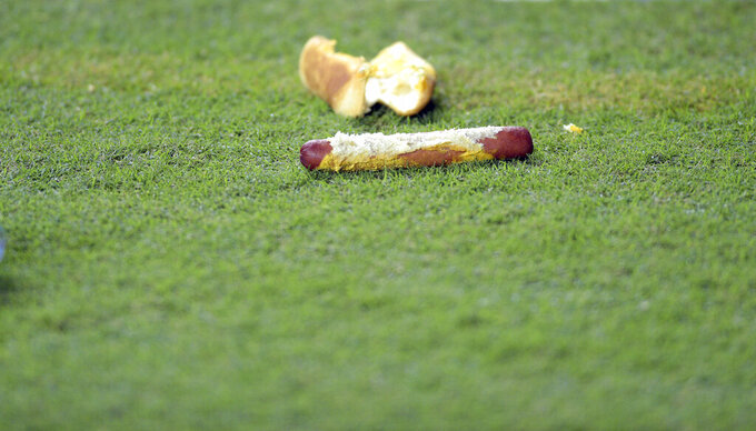 Fans threw a variety of objects onto the field Saturday, ranging from the harmless to full beer cans and even glass bottles. SEC football game between the University of Tennessee and Ole Miss, Saturday, October 16, 2021, at the University of Tennessee, Knoxville, Tenn. (Scott Keller/The Daily Times via AP)