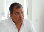 FILE - In this July 5, 2018 file photo, Ecuador's former President Rafael Correa gives an interview at his family home near Brussels, Belgium. An Ecuadorian court found Correa guilty of corruption on April 7, 2020, and sentenced him to eight years in prison, further sullying the legacy of one of the nation's most enduring and polemic political leaders. (Mark Carlson/AP Photo, File)