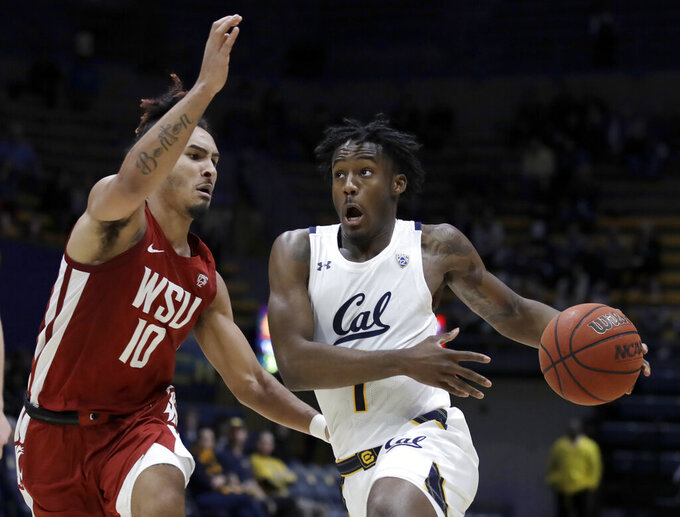California's Joel Brown, right, drives the ball against Washington State's Isaac Bonton (10) during the second half of an NCAA college basketball game Thursday, Jan. 9, 2020, in Berkeley, Calif. (AP Photo/Ben Margot)