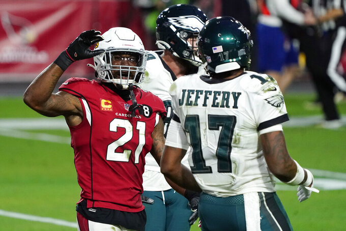 Arizona Cardinals cornerback Patrick Peterson (21) celebrates after an NFL football game against the Philadelphia Eagles, Sunday, Dec. 20, 2020, in Glendale, Ariz. The Cardinals won 33-26. (AP Photo/Rick Scuteri)