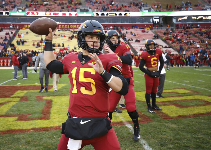 Iowa State quarterback Brock Purdy warms up before an NCAA college football game against Baylor, Saturday, Nov. 10, 2018, in Ames. (AP Photo/Matthew Putney)