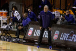 Texas Christian head coach Jamie Dixonduring stands on the sideline during the first half of the NCAA college basketball game against Oklahoma State in Stillwater, Okla., Wednesday, Dec. 16, 2020. (AP Photo/Mitch Alcala)