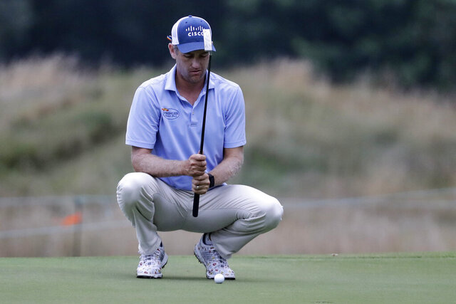 Brendon Todd lines up a putt on the second hole during the second round of the World Golf Championship-FedEx St. Jude Invitational Friday, July 31, 2020, in Memphis, Tenn. (AP Photo/Mark Humphrey)