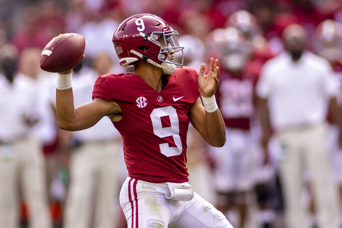 Alabama quarterback Bryce Young (9) throws during the second half of an NCAA college football game against Mercer, Saturday, Sept. 11, 2021, in Tuscaloosa, Ala. (AP Photo/Vasha Hunt)