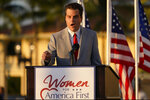 "Congressman Matt Gaetz, R-Fla., speaks at ""Women for American First"" event, Friday, April 9, 2021, in Doral, Fla. The House Ethics Committee has opened an investigation of Rep. Gaetz, citing reports of sexual and other misconduct by the Florida Republican. (AP Photo/Marta Lavandier)"