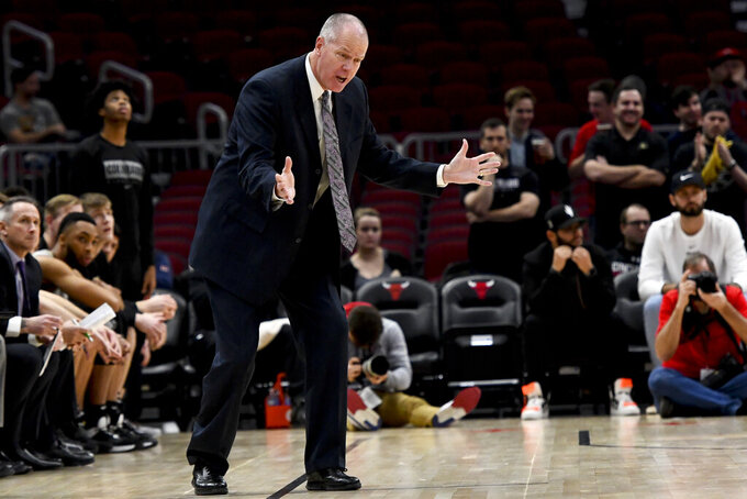 Colorado head coach Tad Boyle directs his team against Dayton in the first half of an NCAA college basketball game, Saturday, Dec. 21, 2019, in Chicago. (AP Photo/Matt Marton)