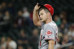 Cincinnati Reds starting pitcher Sonny Gray reacts on the mound after Seattle Mariners' Kyle Lewis ended Gray's no-hit bid in the seventh inning of a baseball game with a three-run home run, Wednesday, Sept. 11, 2019, in Seattle. (AP Photo/Ted S. Warren)