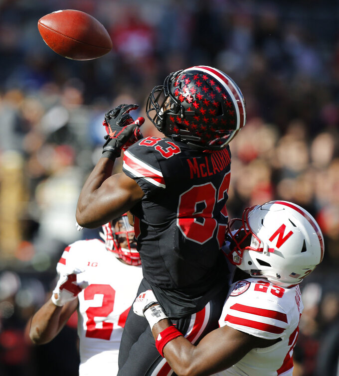 Nebraska defensive back Dicaprio Bootle, right, breaks up a pass intended for Ohio State receiver Terry McLaurin during the second half of an NCAA college football game Saturday, Nov. 3, 2018, in Columbus, Ohio. Ohio State beat Nebraska 36-31. (AP Photo/Jay LaPrete)