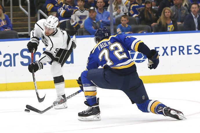 Los Angeles Kings' Adrian Kempe, of Sweden, shoots as St. Louis Blues' Justin Faulk (72) defends during the second period of an NHL hockey game Thursday Oct. 24, 2019, in St. Louis. (AP Photo/Scott Kane)