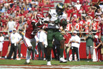 Colorado State receiver Warren Jackson makes a touchdown catch in front of Arkansas defender Montaric Brown in the first half of an NCAA college football game, Saturday, Sept. 14, 2019 in Fayetteville, Ark. (AP Photo/Michael Woods)
