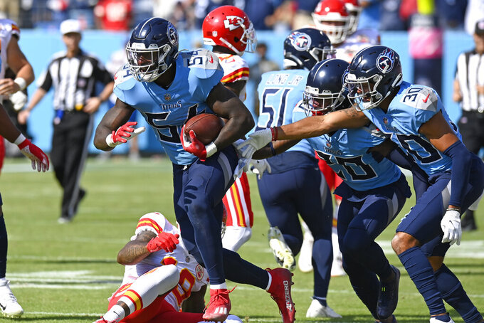 Tennessee Titans linebacker Rashaan Evans (54) celebrates after intercepting a pass against the Kansas City Chiefs in the first half of an NFL football game Sunday, Oct. 24, 2021, in Nashville, Tenn. (AP Photo/Mark Zaleski)
