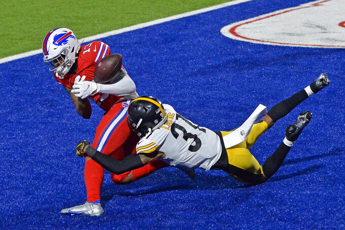 Buffalo Bills wide receiver Gabriel Davis (13) can't hold onto a pass in the end zone with Pittsburgh Steelers cornerback Justin Layne (31) defending during the second half of an NFL football game in Orchard Park, N.Y., Sunday, Dec. 13, 2020. The Bills won 26-15. (AP Photo/Adrian Kraus)