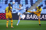 Manchester City's Sam Mewis has a shot on goal, during the Women's Super League soccer match between Manchester City and Tottenham Hotspur, at the Academy Stadium, Manchester, England,  Sunday Oct. 4, 2020. (AP Photo/Dave Thompson)