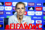 Netherlands' head coach Sarina Wiegman attends a press conference at the Stade de Lyon, outside Lyon, France, Saturday, July 6, 2019. US will face Netherlands in a Women's World Cup final match Sunday in Lyon. (AP Photo/Francois Mori)