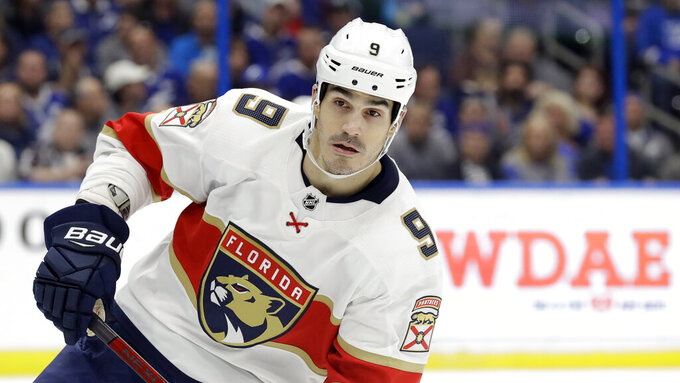 FILE - This Dec. 23, 2019 file photo shows Florida Panthers center Brian Boyle (9) during the second period of an NHL hockey game against the Tampa Bay Lightning in Tampa, Fla.  The predominantly white sport of hockey has a checkered history of racism and a culture of not standing out from the team or speaking out. The death of George Floyd in Minnesota has shattered that silence.   (AP Photo/Chris O'Meara)