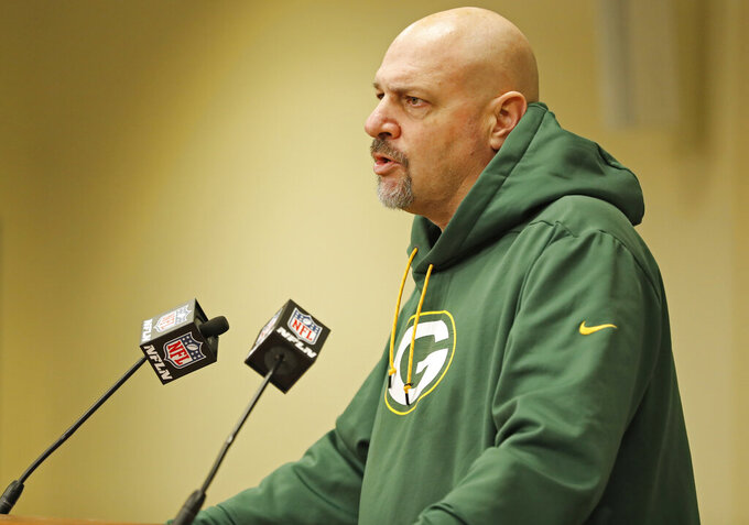 Green Bay Packers' defensive coordinator Mike Pettine addresses the media during a press conference Monday, Feb. 18, 2019, in Green Bay, Wis. (AP Photo/Matt Ludtke)