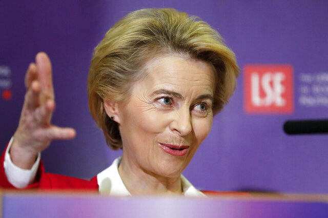 "European Commission President Ursula Von der Leyen delivers a speech at the London School of Economics in London, Wednesday, Jan. 8, 2020. The European Commission's president warned Britain on Wednesday that it won't get the ""highest quality access"" to the European Union's market after Brexit unless it makes major compromises. (AP Photo/Frank Augstein)"