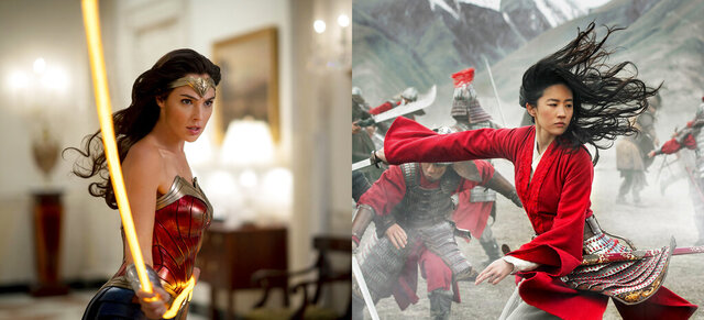 This combination photo shows Gal Gadot in a scene from the Warner Bros. Pictures film