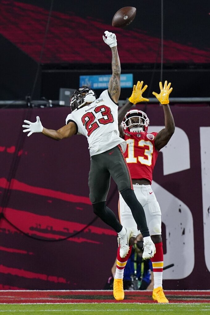 Tampa Bay Buccaneers cornerback Sean Murphy-Bunting breaks up a pass intended for Kansas City Chiefs wide receiver Byron Pringle during the first half of the NFL Super Bowl 55 football game Sunday, Feb. 7, 2021, in Tampa, Fla. (AP Photo/Mark Humphrey)