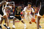 Iowa State guard Prentiss Nixon (11) drives past Southern Mississippi guard Jay Malone (10) during the first half of an NCAA college basketball game, Tuesday, Nov. 19, 2019, in Ames, Iowa. (AP Photo/Charlie Neibergall)