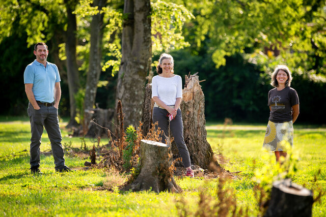 From left, Andrew Bell, Executive Director of the Nashville Tree Foundation, Frannie Corzine, President of the Garden Club of Nashville, and Noni Nielsen, Board President of the Nashville Tree Foundation, pose near tree stumps at Clinton B. Fisk Park in Nashville, Tenn., Thursday, July 2, 2020. The park lost most of its trees in this year's tornado and the foundation plans to replant about 200 in November. (Ricky Rogers/The Tennessean via AP)
