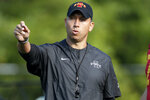 FILE - In this Aug. 2, 2019, file photo, Iowa State coach Matt Campbell gestures during an NCAA college football practice, in Ames, Iowa. The Cyclones were ranked in the preseason poll for the first time in 41 years behind a punishing defense, a young quarterback who seems destined for stardom and a coach who always seems to push the right buttons. And yet, the enthusiasm of Iowa State's supporters might give way to a tiny bit of pause when they see Northern Iowa _ the Cyclones' longtime FCS nemesis _ scheduled for Saturday's opener. (AP Photo/Charlie Neibergall, File)