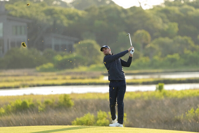 FILE - Wyndham Clark watches his fairway shot on the 10th hole during the second round of the PGA Championship golf tournament on the Ocean Course in Kiawah Island, S.C., in this Friday, May 21, 2021, file photo. Clark finally made it into the U.S. Open this year after a decade of trying. (AP Photo/David J. Phillip, File)