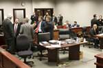 Courtroom 3C in Wake County Superior Court has begun to fill with attorneys and onlookers for the Mark E. Harris v. NC State Board of Elections hearing on Tuesday, January 22, 2019 in Raleigh, N.C. (Robert Willett/The News & Observer via AP)