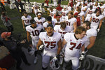 Stanford's Walter Rouse (75) yells as the team returns to the locker room with the Stanford Axe after defeating California 24-23 in an NCAA college football game Friday, Nov. 27, 2020, in Berkeley, Calif. (Jose Carlos Fajardo/Bay Area News Group via AP)