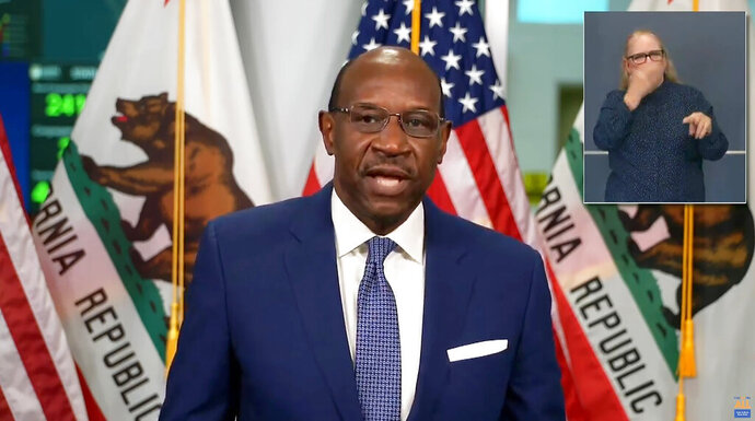 This photo from streaming video provided by the Office of the Governor shows Justice Martin Jenkins. California Gov. Gavin Newsom announced Monday, Oct. 5, 2020, his nomination of Justice  Jenkins (Ret.) for Associate Justice of the California Supreme Court. Justice Jenkins has held several prominent state and federal judicial positions throughout his career and most recently served as judicial appointments secretary to Governor Newsom since 2019. He would be the first openly gay California Supreme Court justice and only the third African American man ever to serve on the state's highest court. (Office of the Governor via AP)