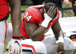 Georgia defensive tackle Michael Barnett sits on the bench in the final minutes of the team's 28-21 loss to Texas during the Sugar Bowl NCAA college football game Tuesday, Jan. 1, 2019, in New Orleans. (Curtis Compton/Atlanta Journal Constitution via AP)