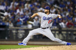 Los Angeles Dodgers starting pitcher Clayton Kershaw delivers against the New York Mets during the fourth inning of a baseball game Friday, Sept. 13, 2019, in New York. (AP Photo/Mary Altaffer)