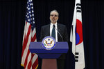 James DeHart, U.S. Department of State's a senior advisor for security negotiations and agreements bureau of political-military affairs, speaks after a meeting with South Korean counterpart on the Special Measures Agreement (SMA) at the public affairs section of the U.S. Embassy in Seoul, South Korea, Tuesday, Nov. 19, 2019. (AP Photo/Lee Jin-man, Pool)