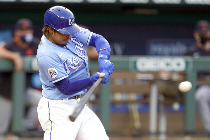 Kansas City Royals Adalberto Mondesi hits a solo home run off Detroit Tigers starting pitcher Matthew Boyd during the first inning of a baseball game at Kauffman Stadium in Kansas City, Mo., Saturday, Sept. 26, 2020. (AP Photo/Orlin Wagner)