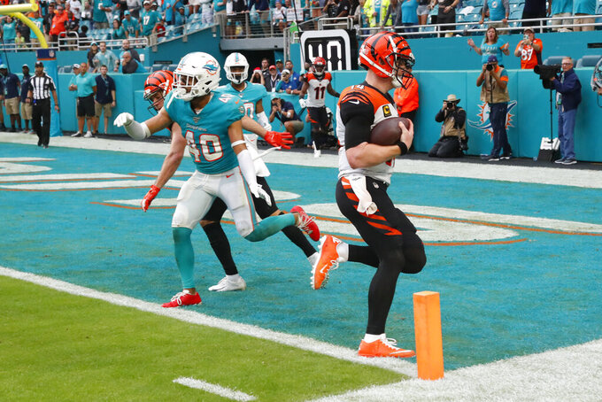 Cincinnati Bengals quarterback Andy Dalton (14) scores a two-point conversion to tie the game, during the second half at an NFL football game, Sunday, Dec. 22, 2019, in Miami Gardens, Fla. (AP Photo/Wilfredo Lee)