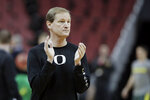 Oregon head coach Dana Altman watches during practice for the NCAA men's college basketball tournament, Wednesday, March 27, 2019, in Louisville, Ky. (AP Photo/Michael Conroy)