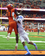 Syracuse wide receiver Jamal Custis (17) catches for a touchdown against North Carolina during an NCAA college football game, Saturday, Oct. 20, 2018, in Syracuse, N.Y. (Scott Schild/The Post-Standard via AP)