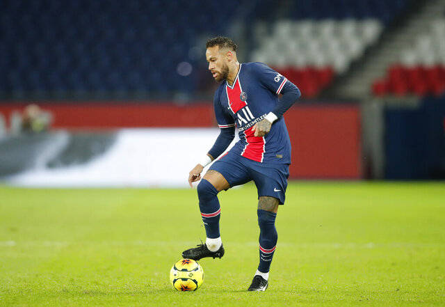 PSG's Neymar controls the ball during the French League One soccer match between Paris Saint-Germain and Angers at the Parc des Princes in Paris, France, Friday, Oct. 2, 2020. (AP Photo/Francois Mori)