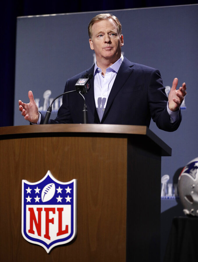 NFL Commissioner Roger Goodell answers a question during a news conference for the NFL Super Bowl 53 football game Wednesday, Jan. 30, 2019, in Atlanta. (AP Photo/David J. Phillip)