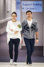 New Zealand Prime Minister Jacinda Ardern, left, with her partner Clarke Gayford, holds their newly born baby girl, Neve, at Auckland Hospital on Sunday, June 24, 2018. Ardern made her first public appearance on Sunday since giving birth to her daughter on Thursday. Ardern is just the second elected world leader to give birth while holding office. (Greg Bowker/New Zealand Herald via AP)