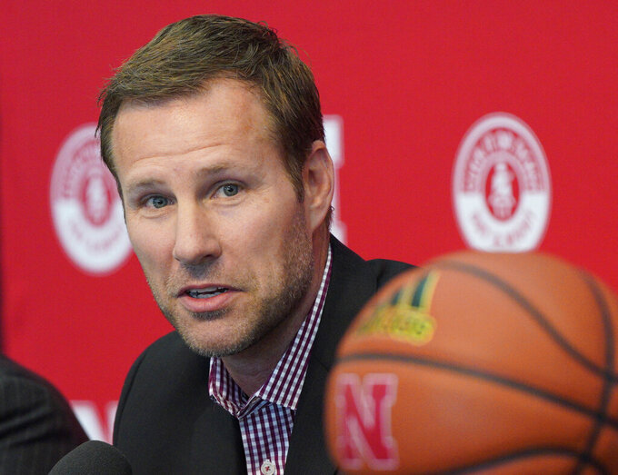 File- This April 2, 2019, file photo shows Fred Hoiberg being introduced as Nebraska's new NCAA college basketball head coach at a news conference in Lincoln, Neb. Nebraska fans will need to keep a roster handy when they watch Hoiberg's first Cornhuskers team. Of the 16 players, 14 weren't on the team in 2018-19. (AP Photo/Nati Harnik, File)